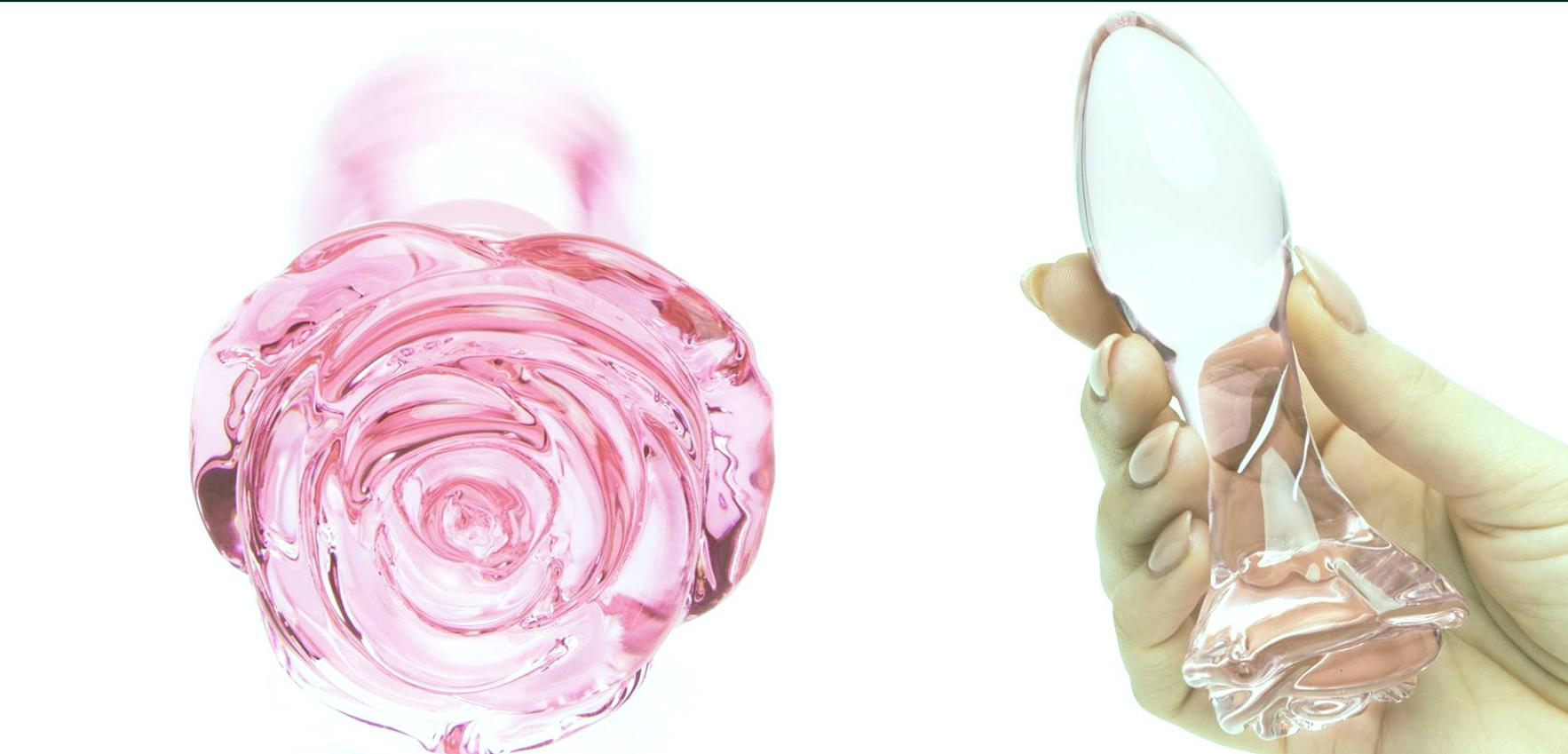 Tapón anal de vidrio rosa.